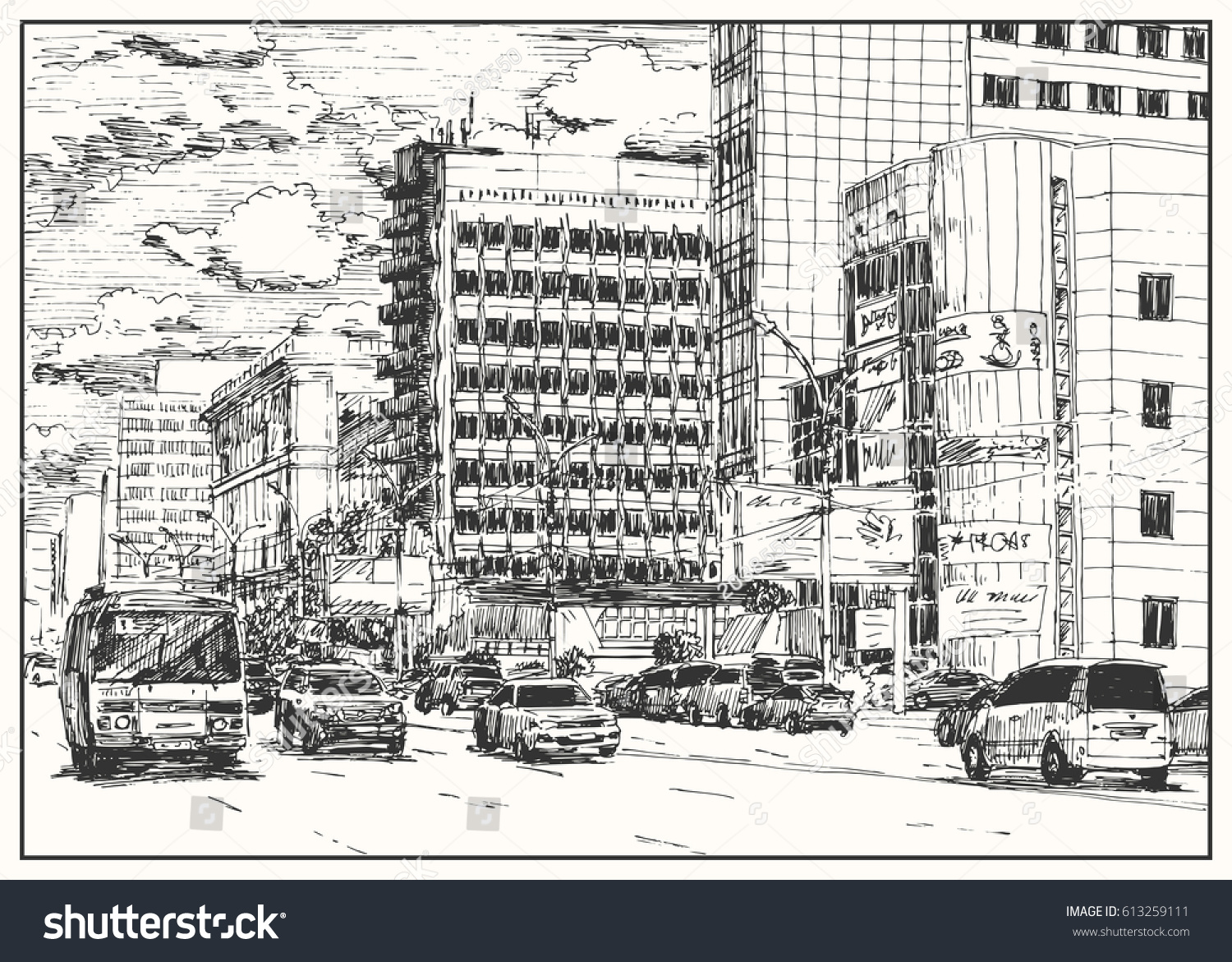 City Street View Traffic Scene Black Stock Vector HD (Royalty Free ...