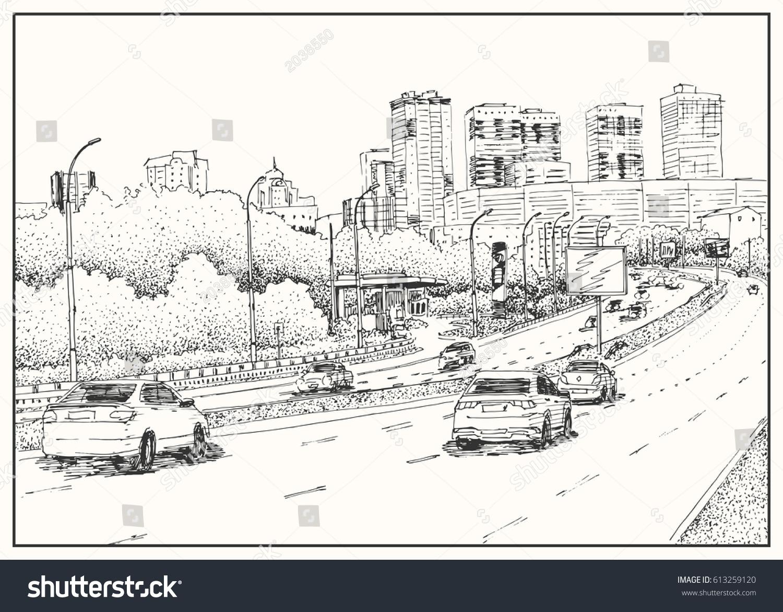 Royalty-free City street view, traffic scene. Black… #613259120 ...
