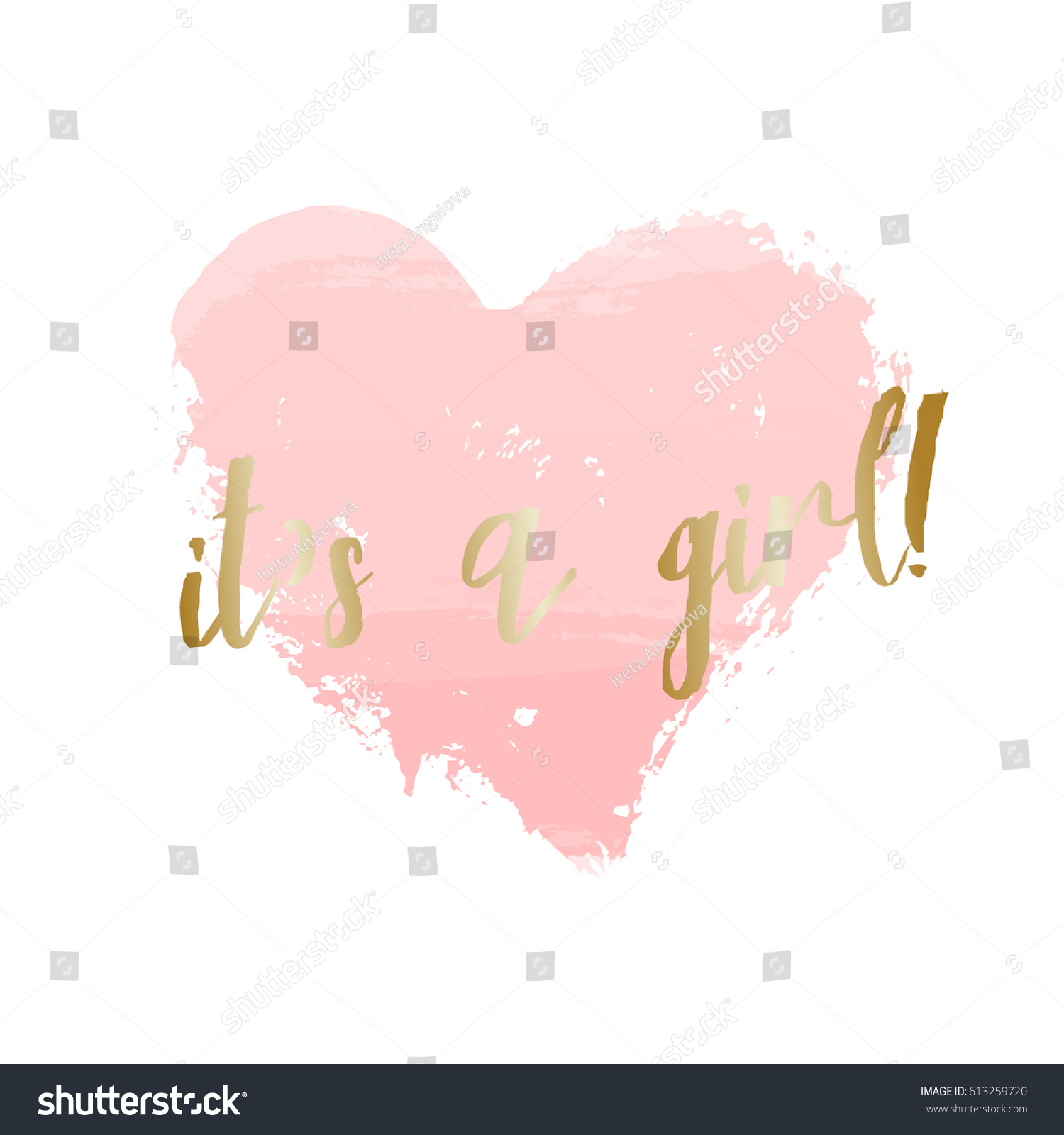 Baby Girl Birth Announcementbaby Shower Card Stock Vector