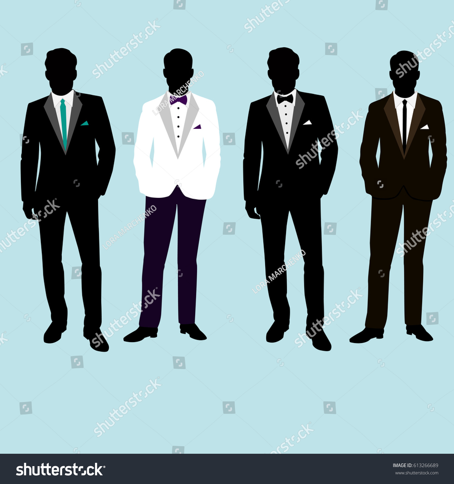 Wedding Mens Suit Tuxedo Collection Groom Stock Vector 613266689 ...