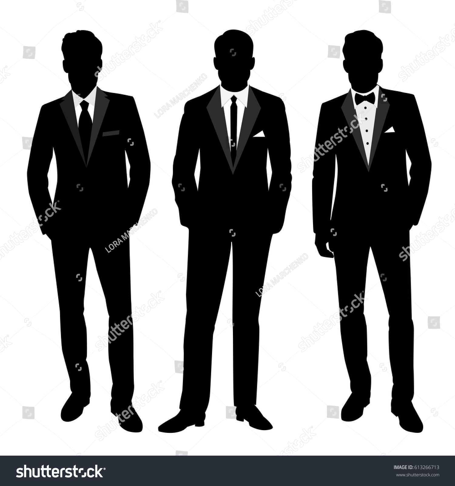 Wedding Mens Suit Tuxedo Collection Groom Stock Vector