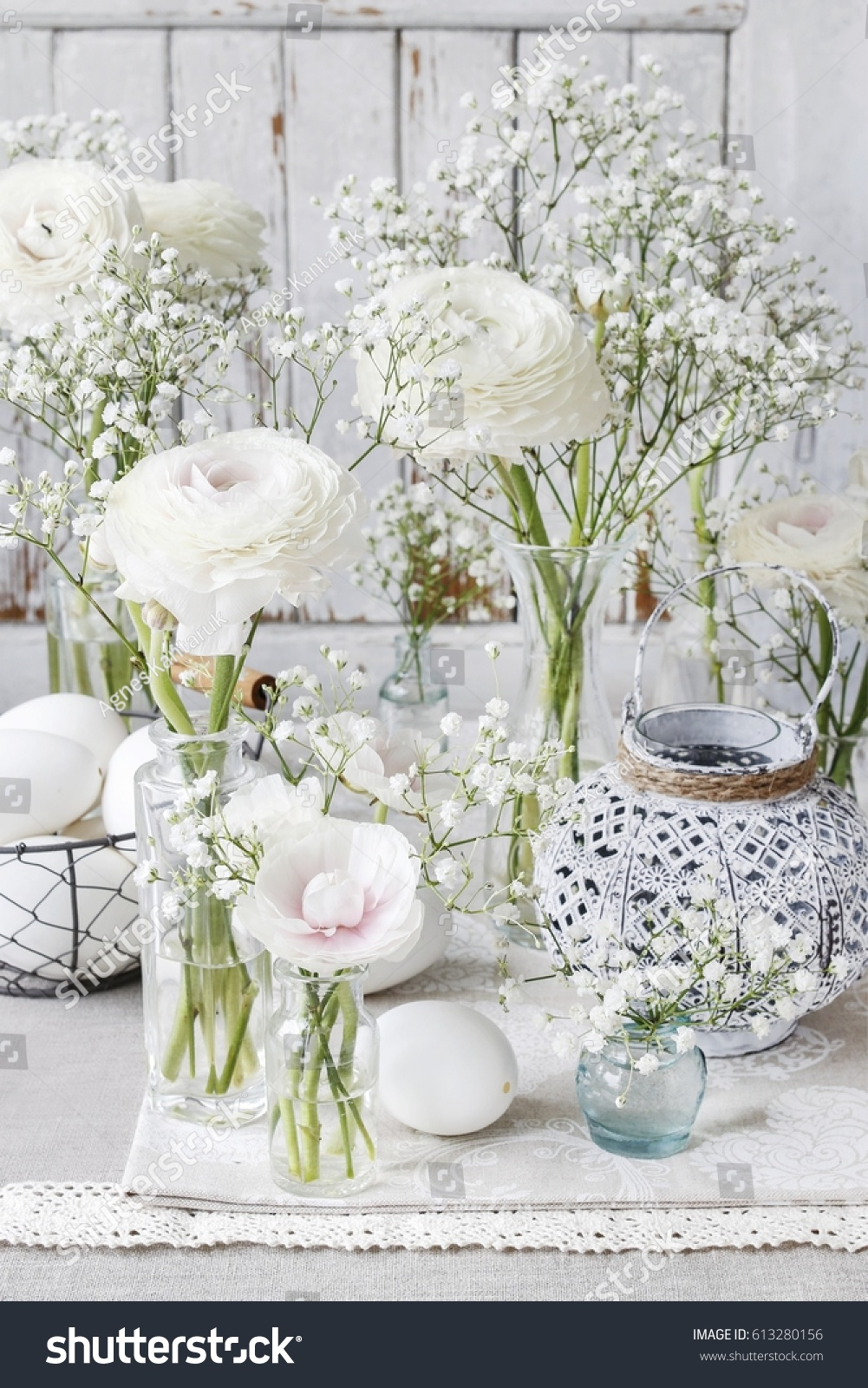 Floral Arrangement With Ranunculus Flowers And White Gypsophila