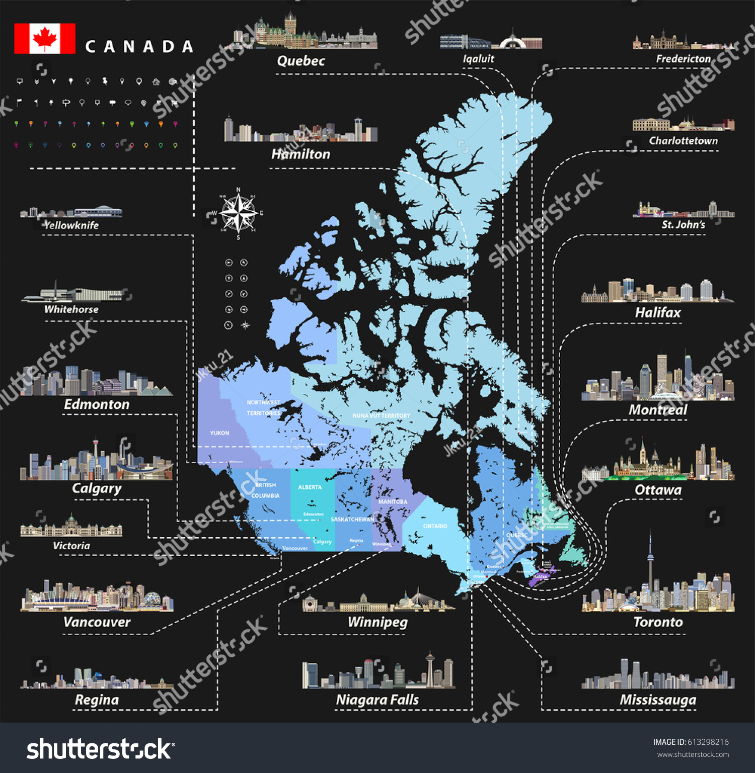 Map Provinces Territories Canada Largest Cities Stock Vector - Canada states capital map