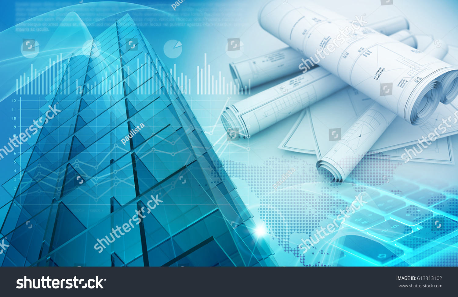 Skyscraper Exterior And Architectural Blueprints 3d Illustration