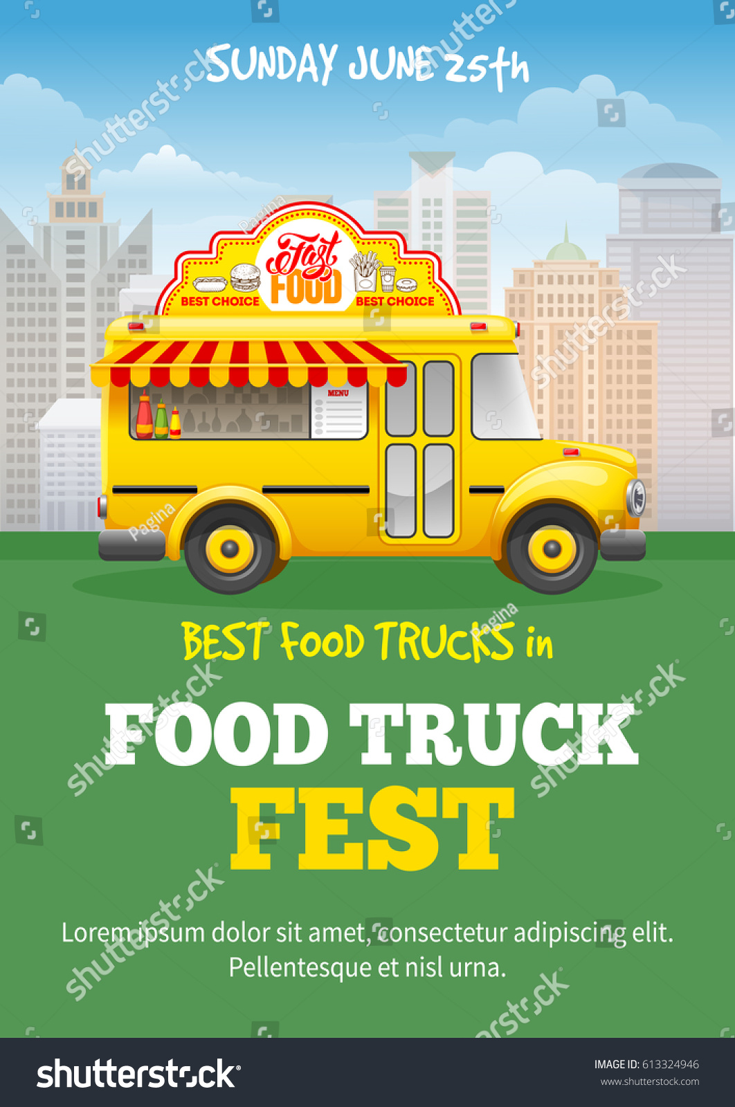 Poster design template - Food Truck Festival Poster Design Template Cute Vintage Food Truck On Cityscape Background Vector