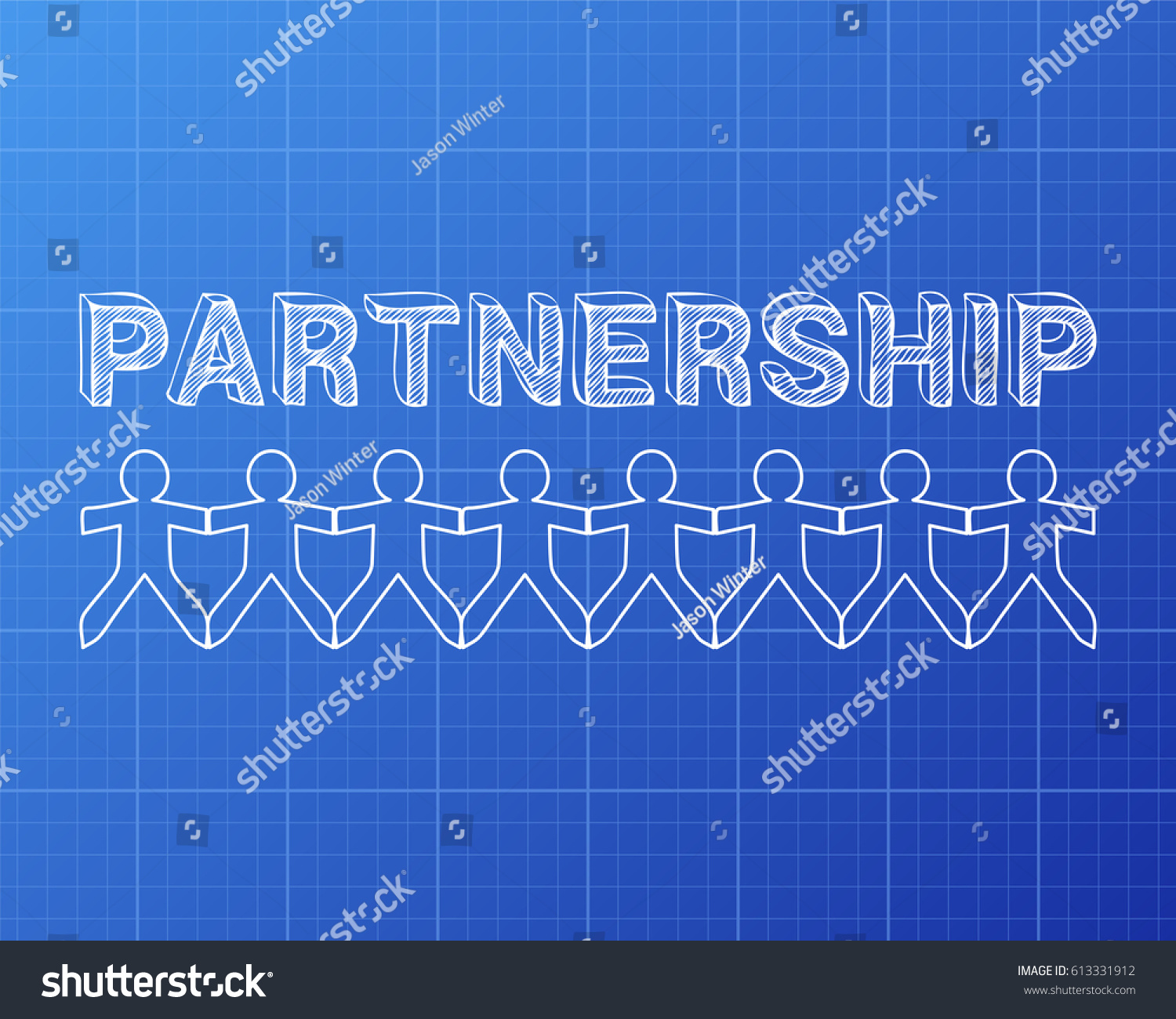 Partnership text hand drawn paper people stock vector hd royalty partnership text hand drawn with paper people on blueprint background malvernweather Choice Image