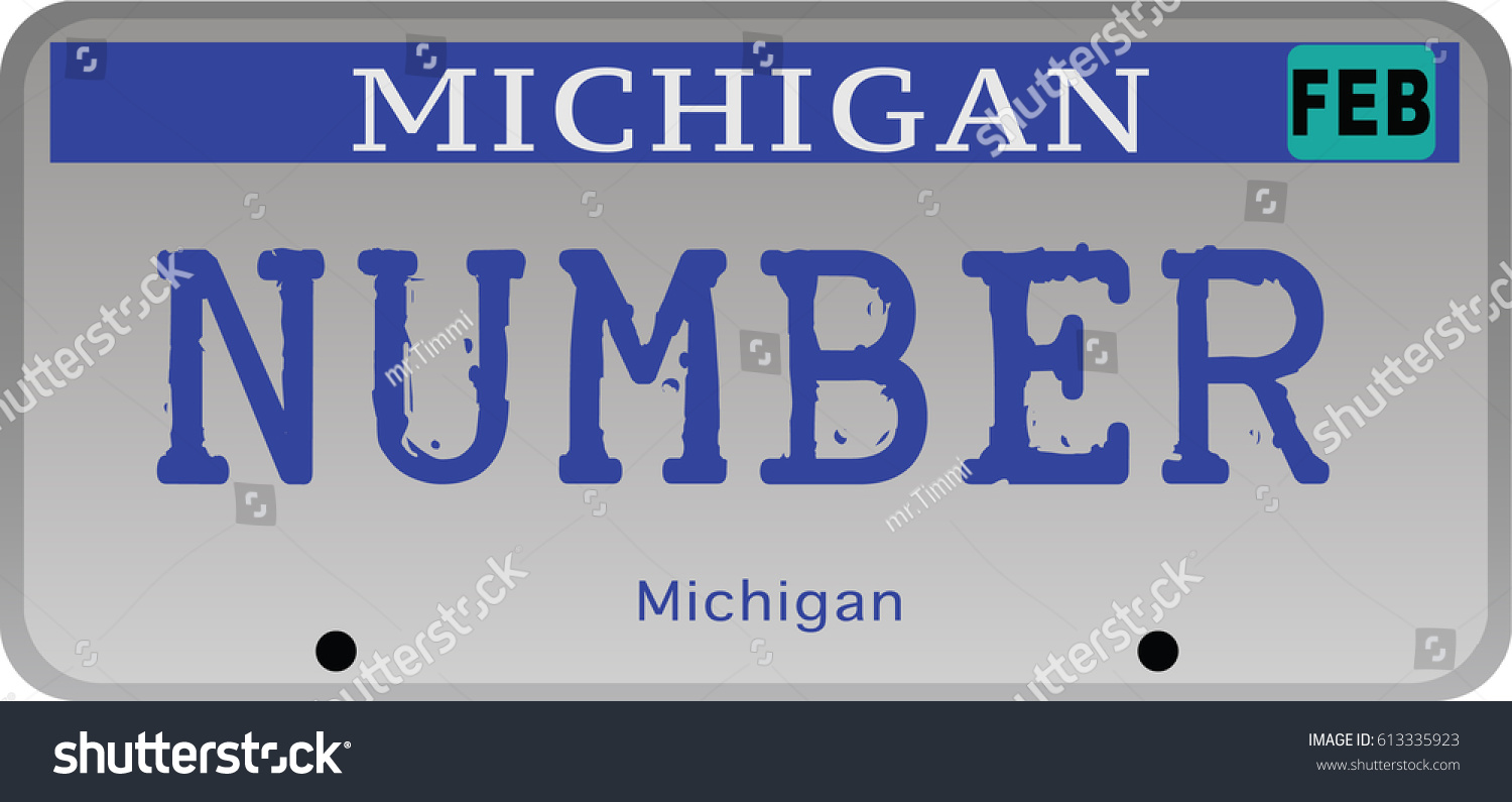 State Michigan Car Registration Number Plates Stock Vector ...