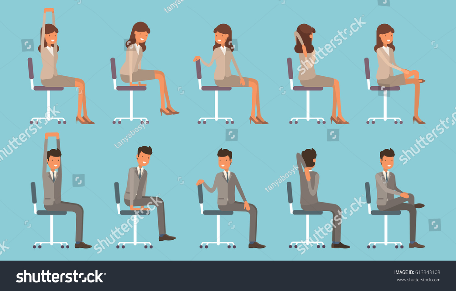 vector illustration office chair yoga businessman stock vector