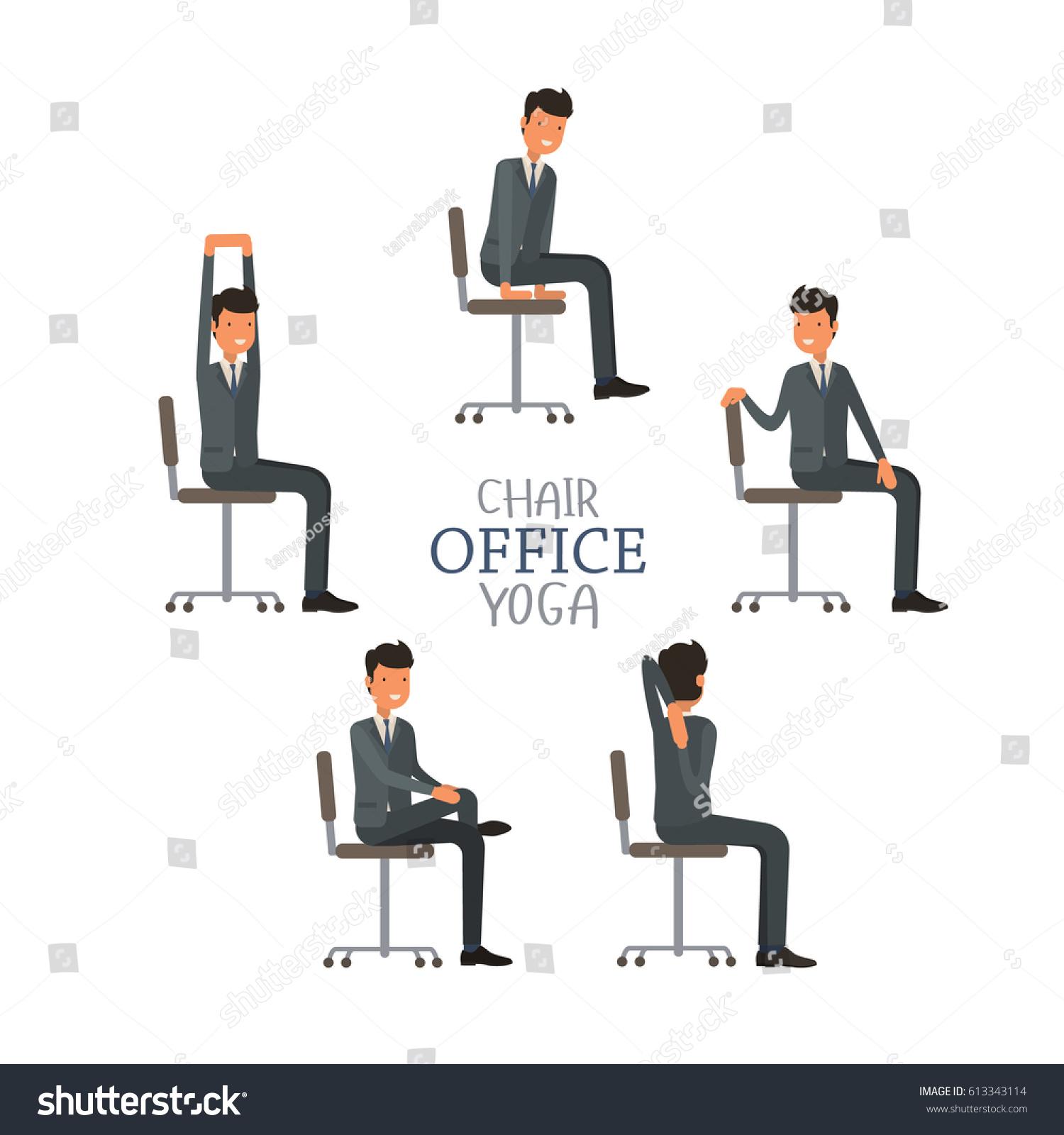 Vector Illustration Office Chair Yoga Businessman Stock Vector Royalty Free 613343114