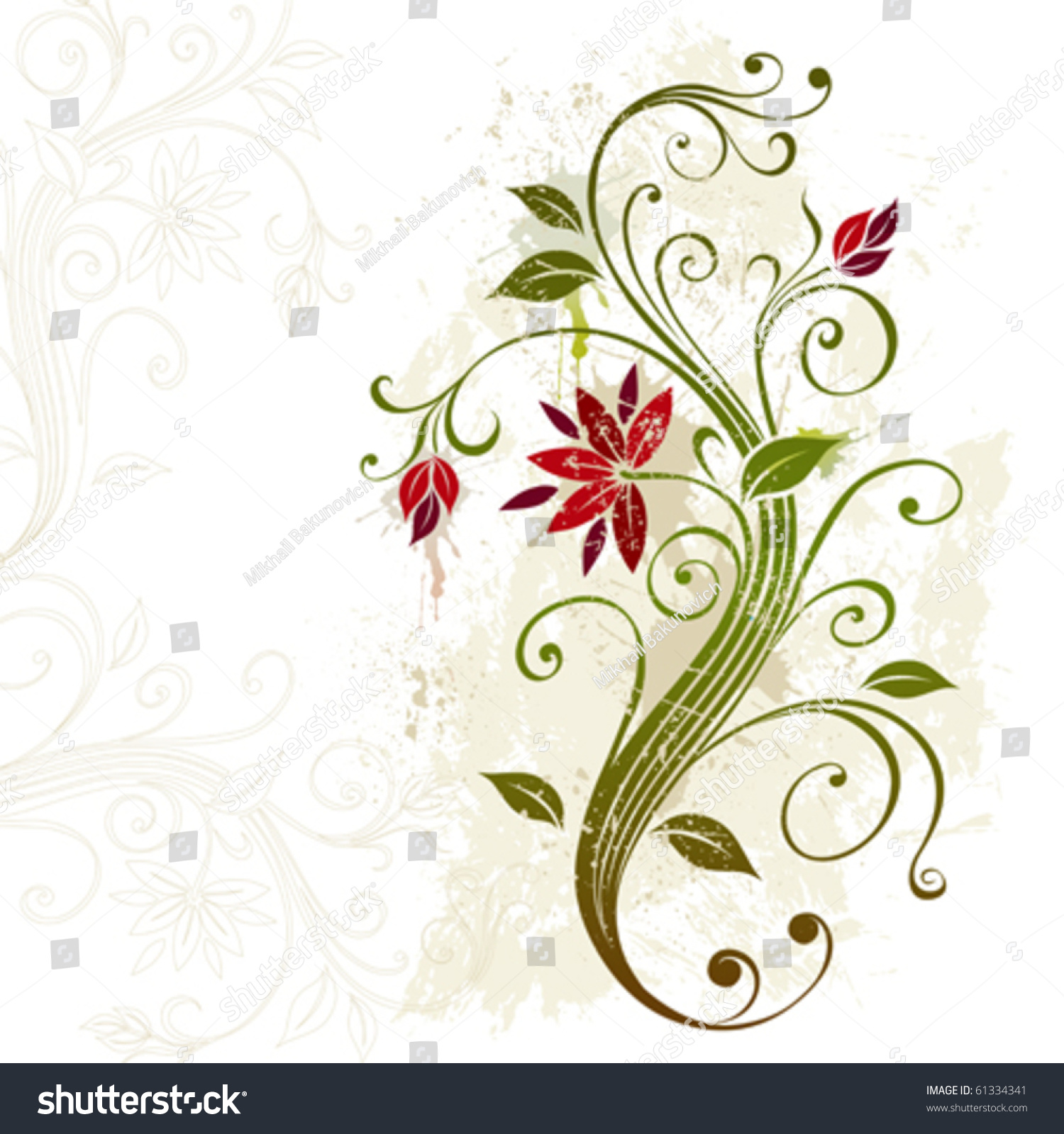 Stylized Flower On Grunge Background Stock Vector 61334341 ...