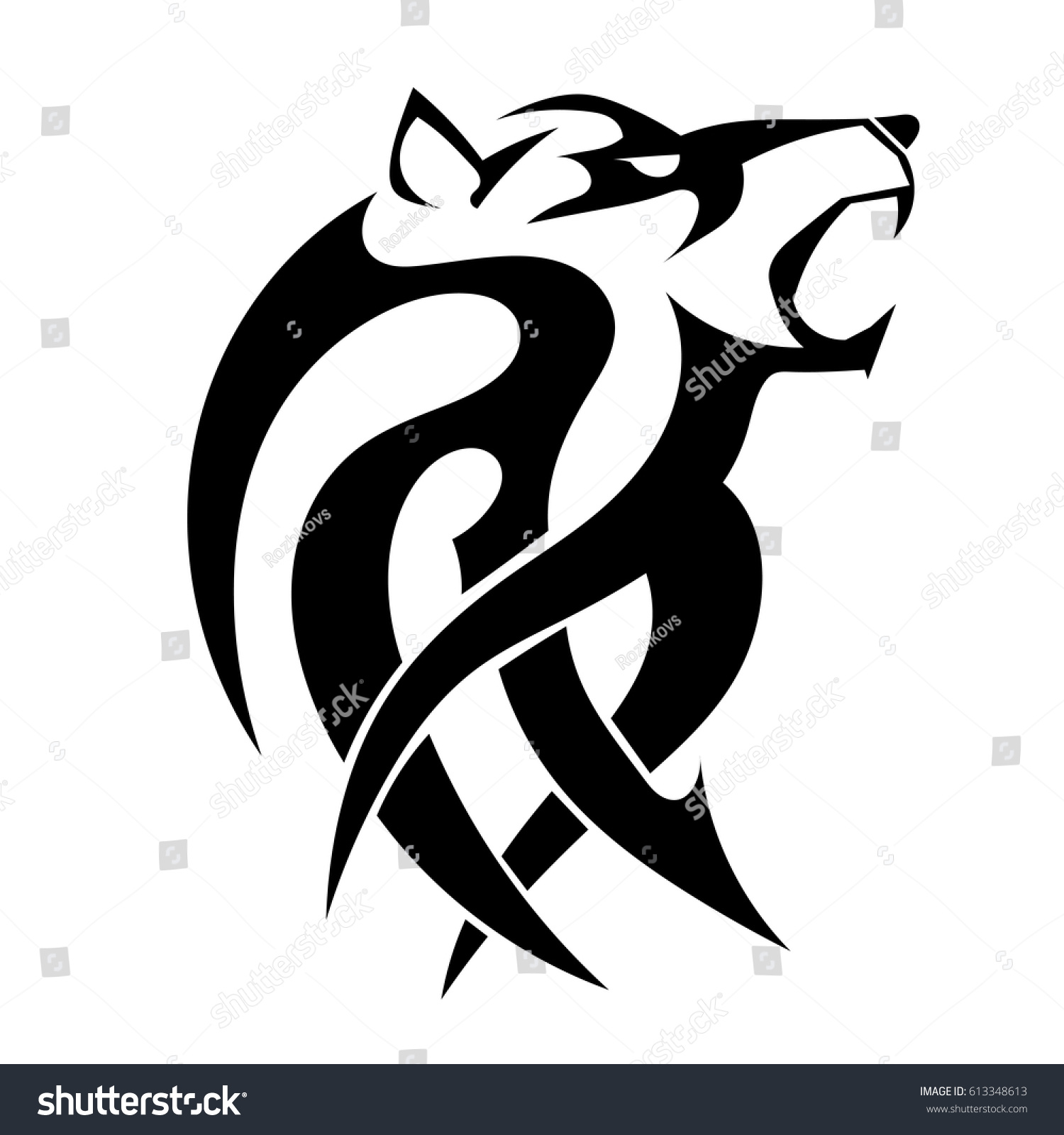 Vector Tattoo Wicked Strong Wolf On Stock Vector Royalty Free
