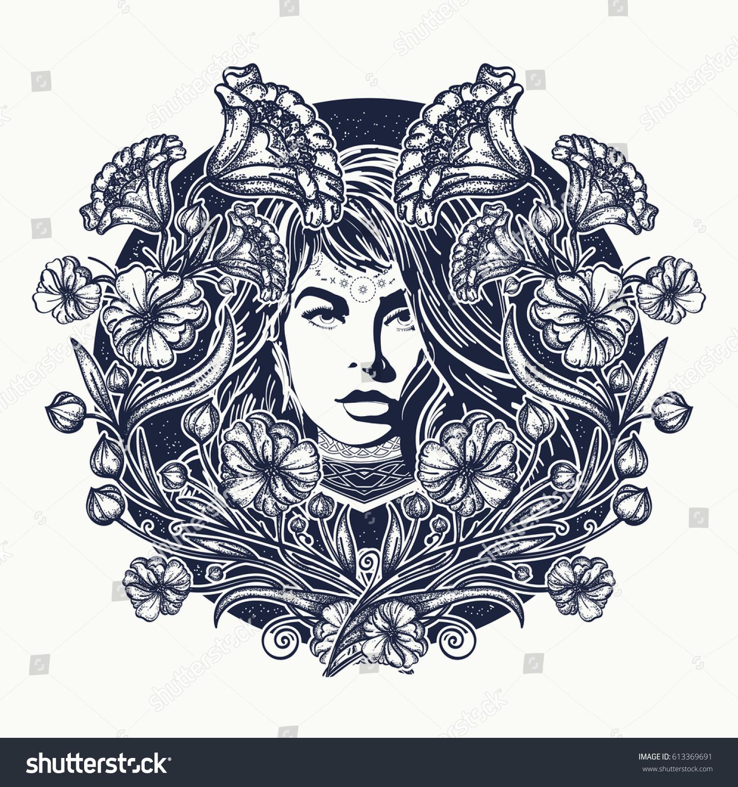 Art Nouveau Flower Tattoo: Woman Flowers Tattoo Art Nouveau Woman Stock Vector