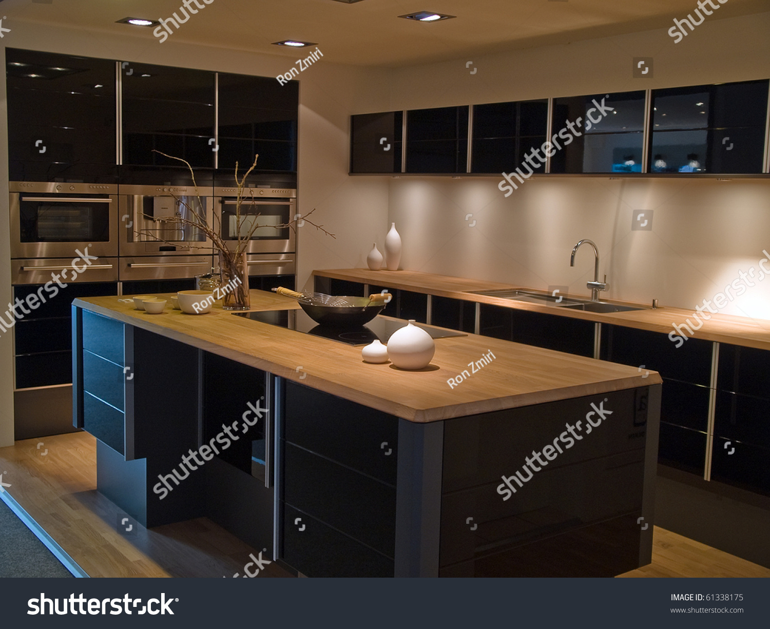 Modern Design Trendy Kitchen With Black And Wood Elements Stock Photo 61338175 Shutterstock