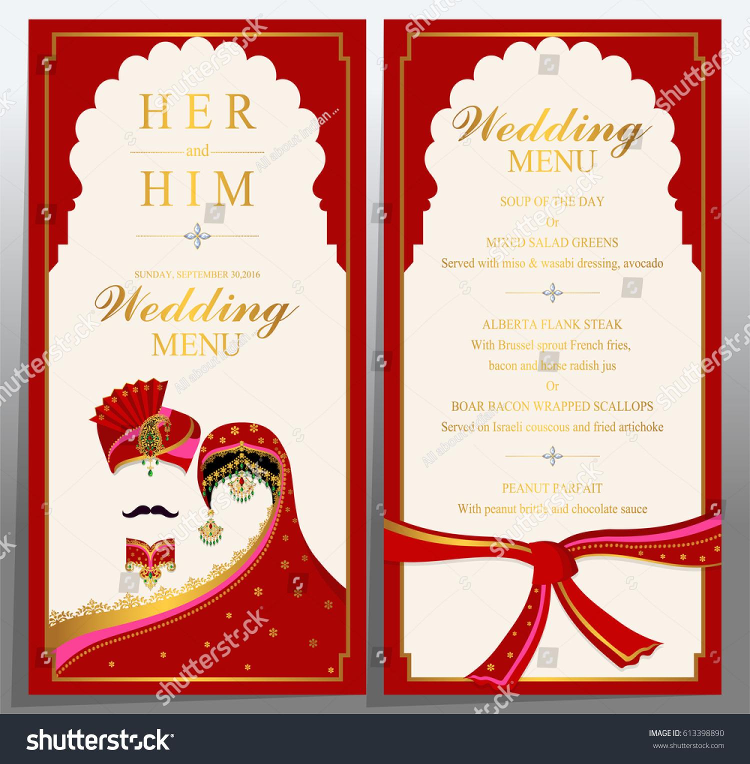 Wedding Menu Card Templates Gold Patterned Stock Vector 613398890 ...