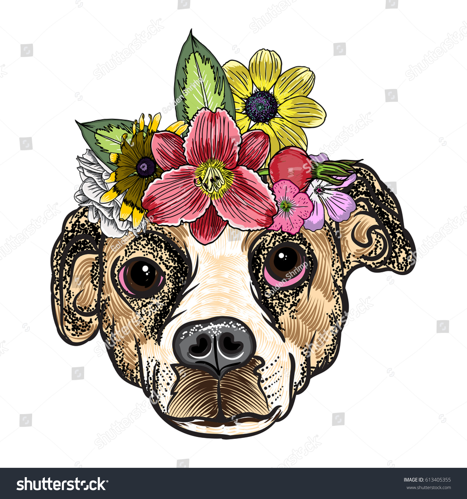 Ilustracion De Stock Sobre Beagle Puppy Exotic Flower Roses Wreath 613405355