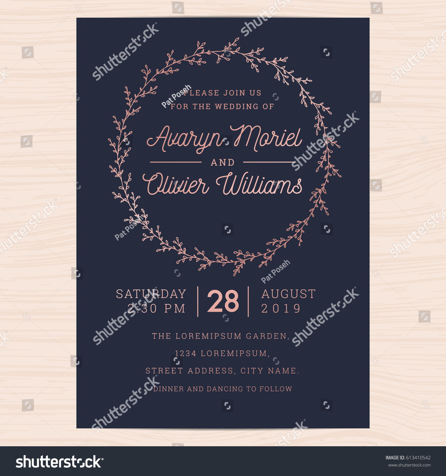 Modern Navy Blue Rose Gold Colors Stock Vector Royalty Free