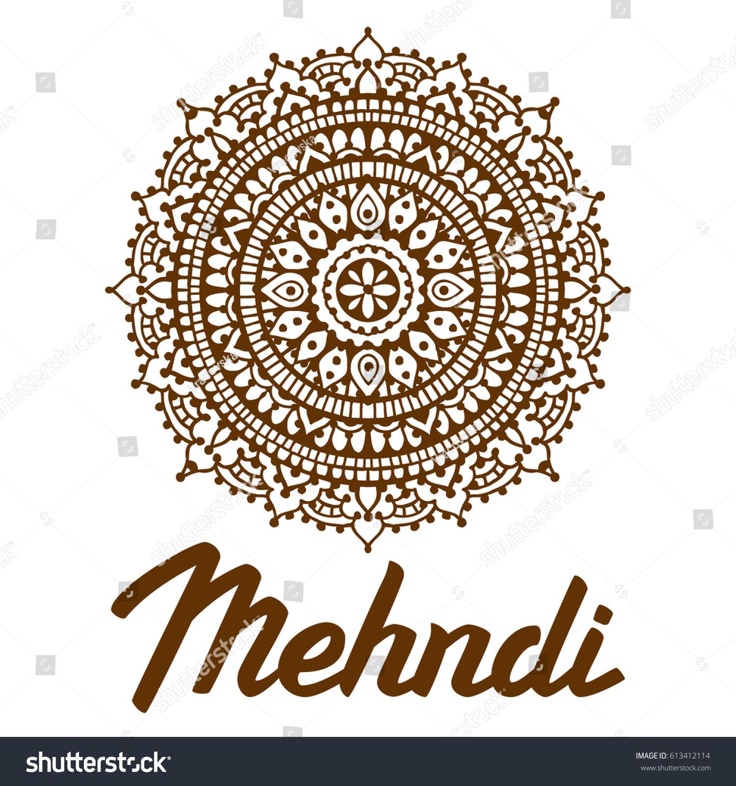 Henna Mehndi Logo Design Mehndi Lettering Stock Vector Royalty Free