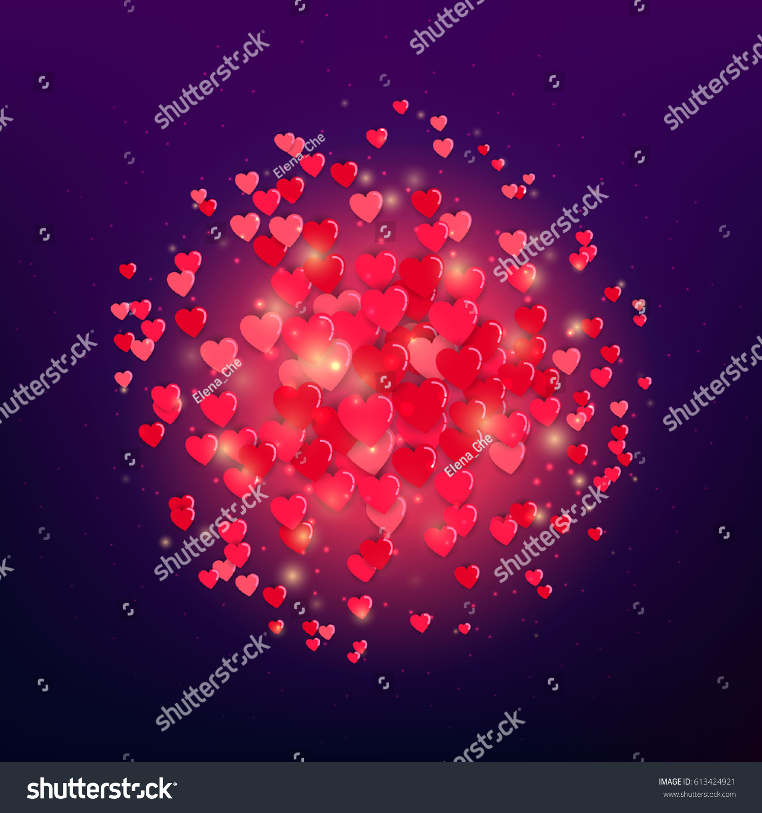 heart explosion hearts valentines day love stock vector 613424921