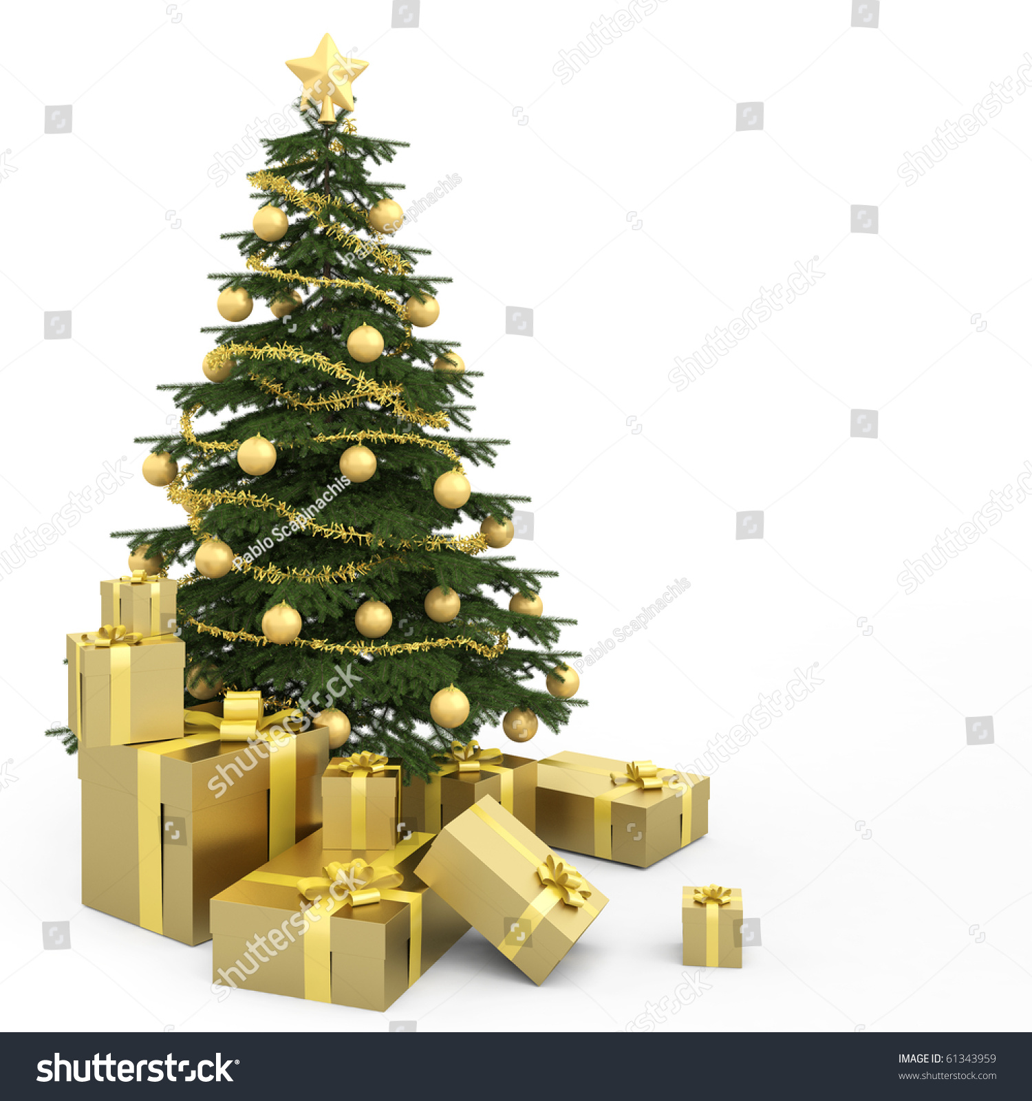 Real christmas trees with presents - Golden Decorated Christmas Tree Wirh Many Presents And Isolated On White