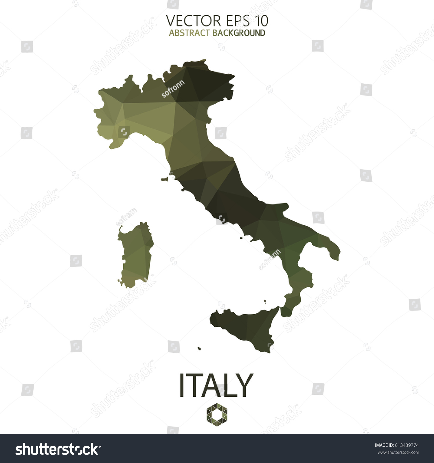 Italy Map Geometric Polygonal Military Style Abstract Stock ...