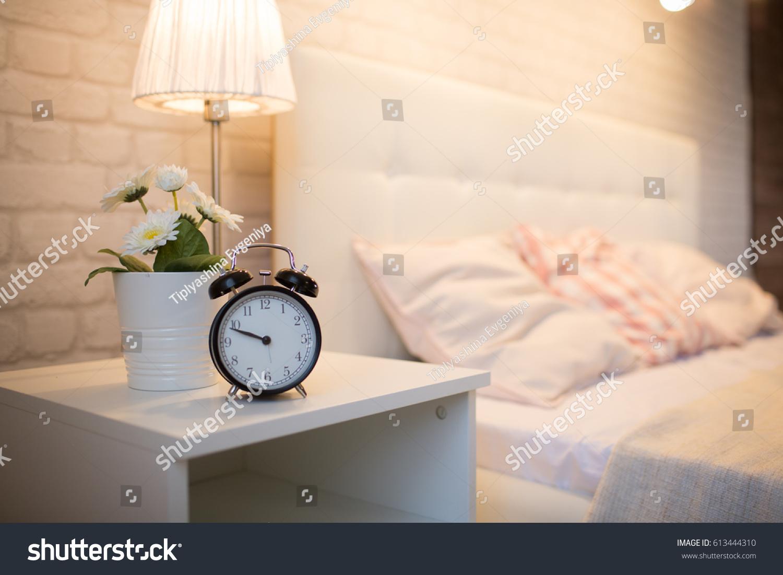 Alarm Clock Near Bed Interior Bedroom Stock Photo 613444310 ...