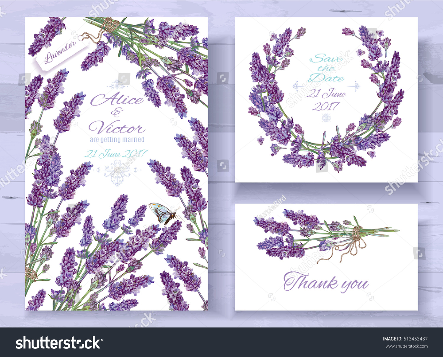 Vector Wedding Invitations Set With Lavender Flowers On White Background Romantic Tender Floral Design For