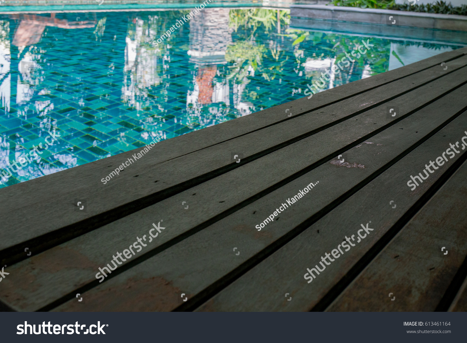 Pool Terrace , Wood Plank Pool Terrace