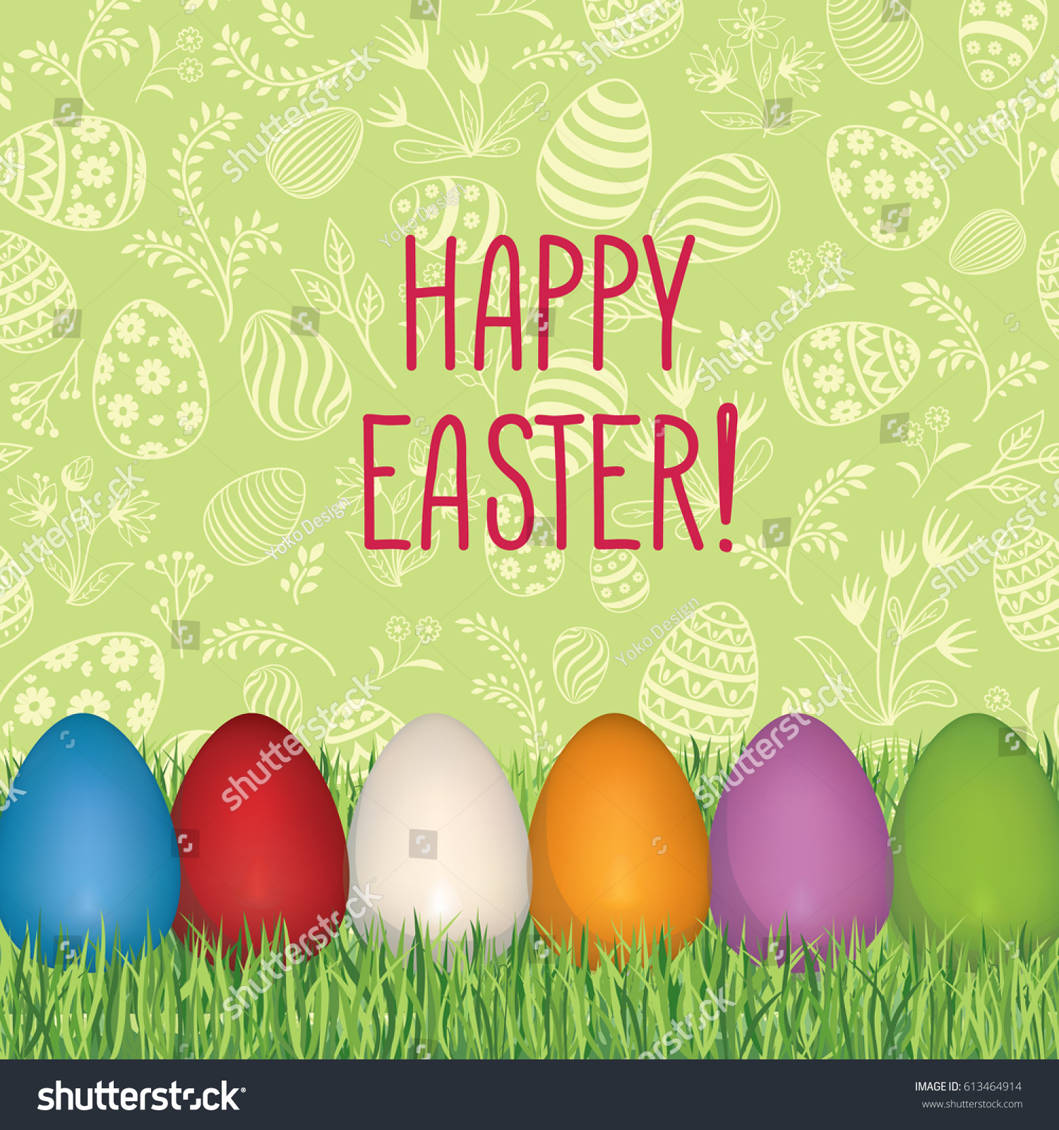 Happy Easter Greeting Card Easter Holiday Stock Vector 613464914