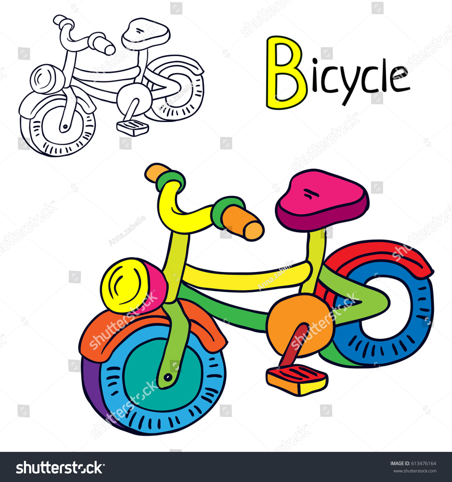 bicycle coloring book page cartoon vector illustration - Bicycle Coloring Book