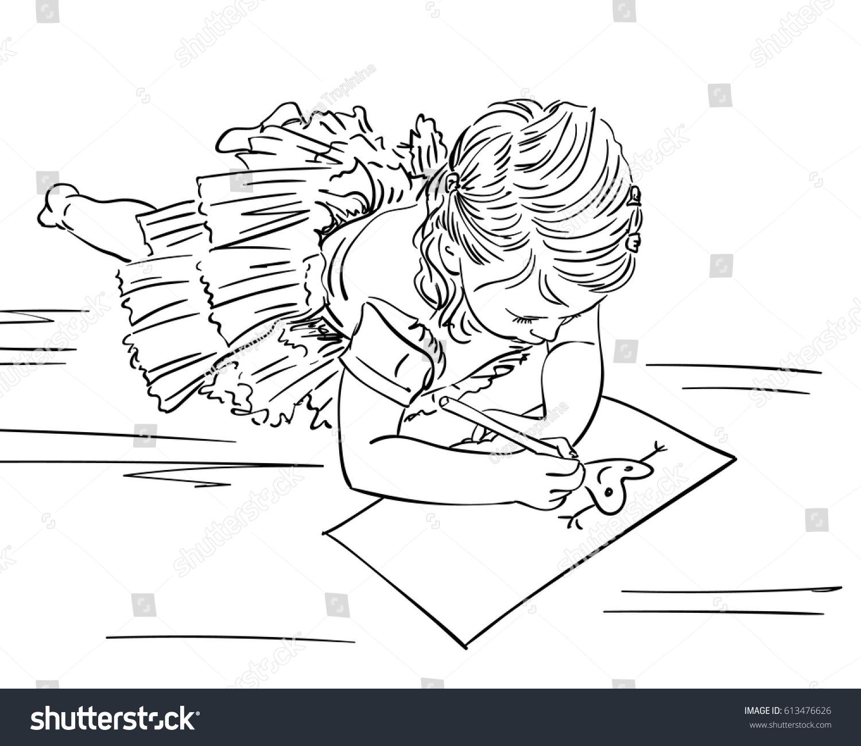 Line Art Floors : Little girl drawing heart on paper stock vector