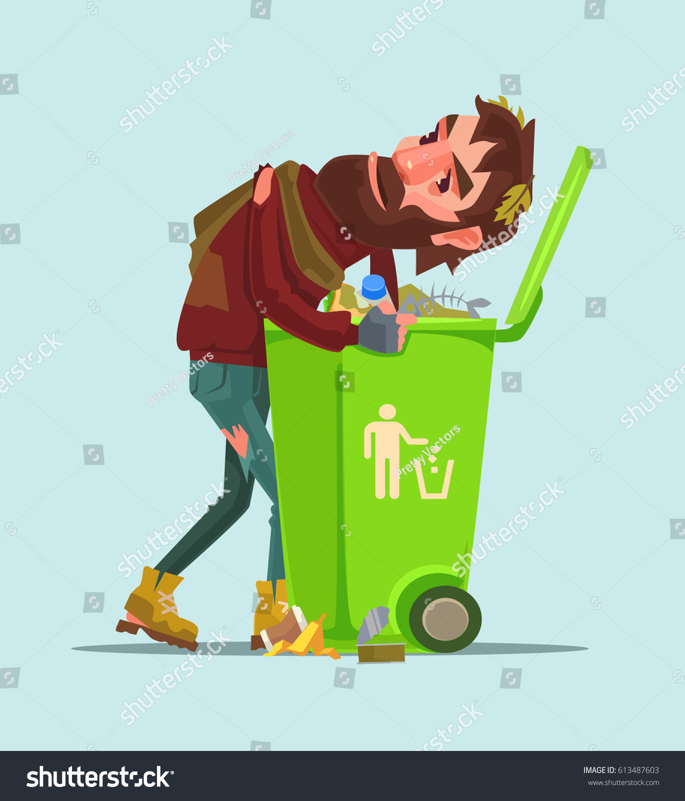 Unemployed Homeless Man Look Food Trash Stock Vector Royalty Free ...