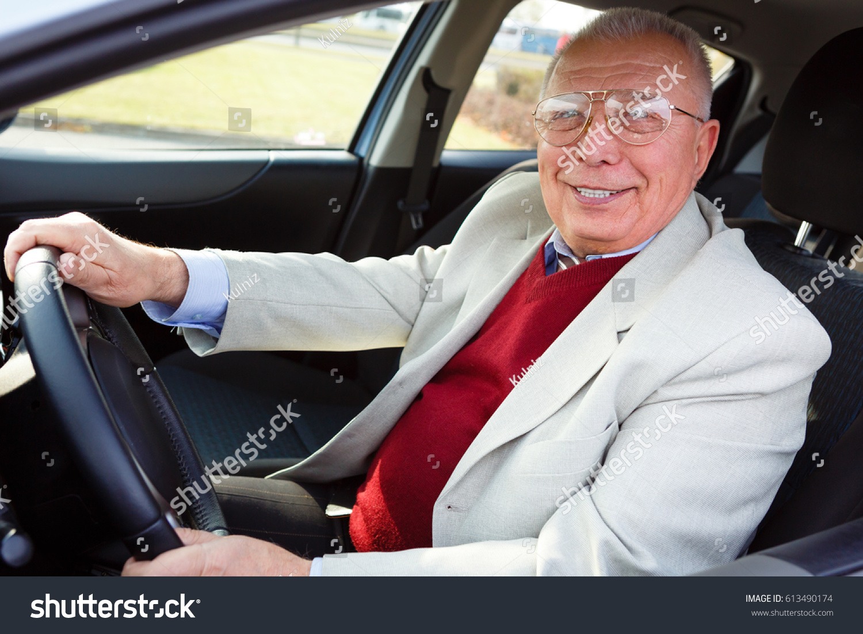 Happy Senior Old Male Sitting Car Stock Photo (Safe to Use ...