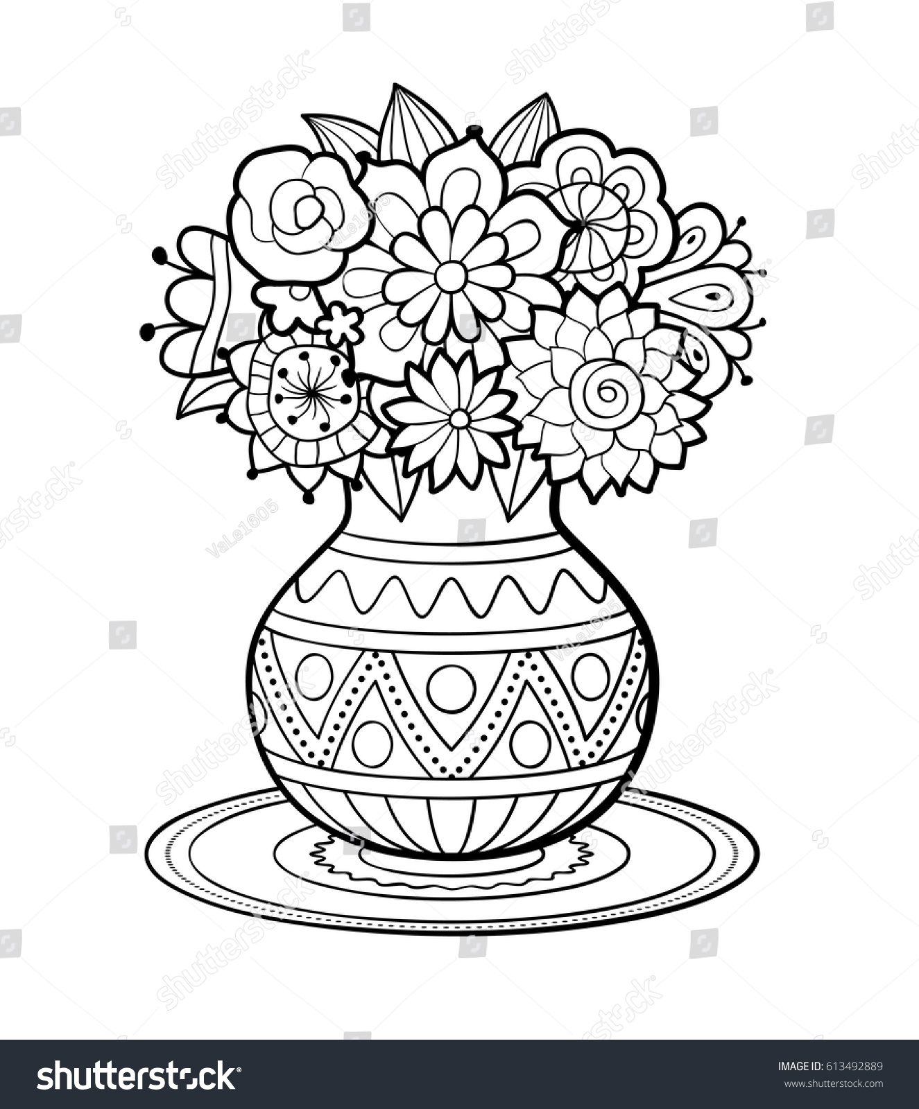 Vase flowers geometric ornament standing on stock vector 613492889 vase of flowers with geometric ornament standing on round napkin black and white outline vector reviewsmspy