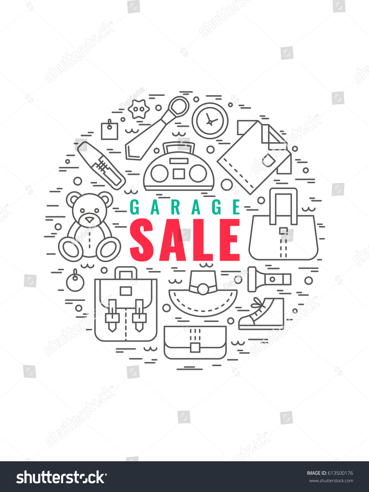 Vector Line Style Illustration garage Sale Stock Vector ...