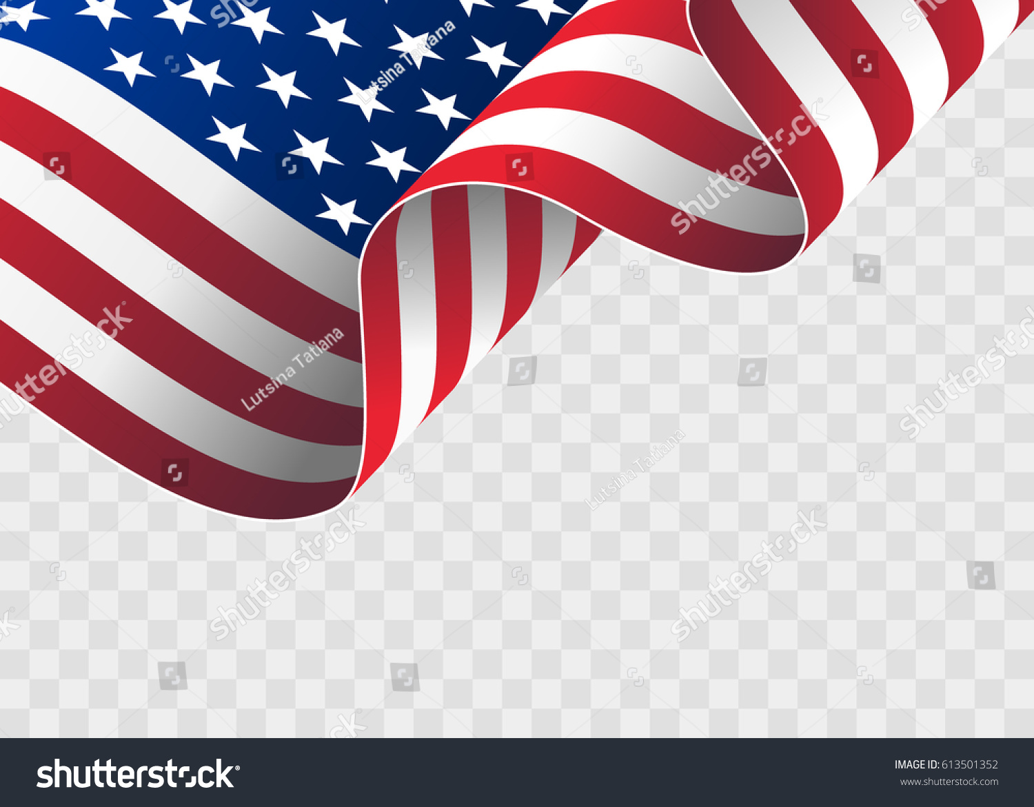waving flag of the United States of America. illustration of wavy American Flag for Independence Day. American flag on transparent background - vector illustration. #613501352