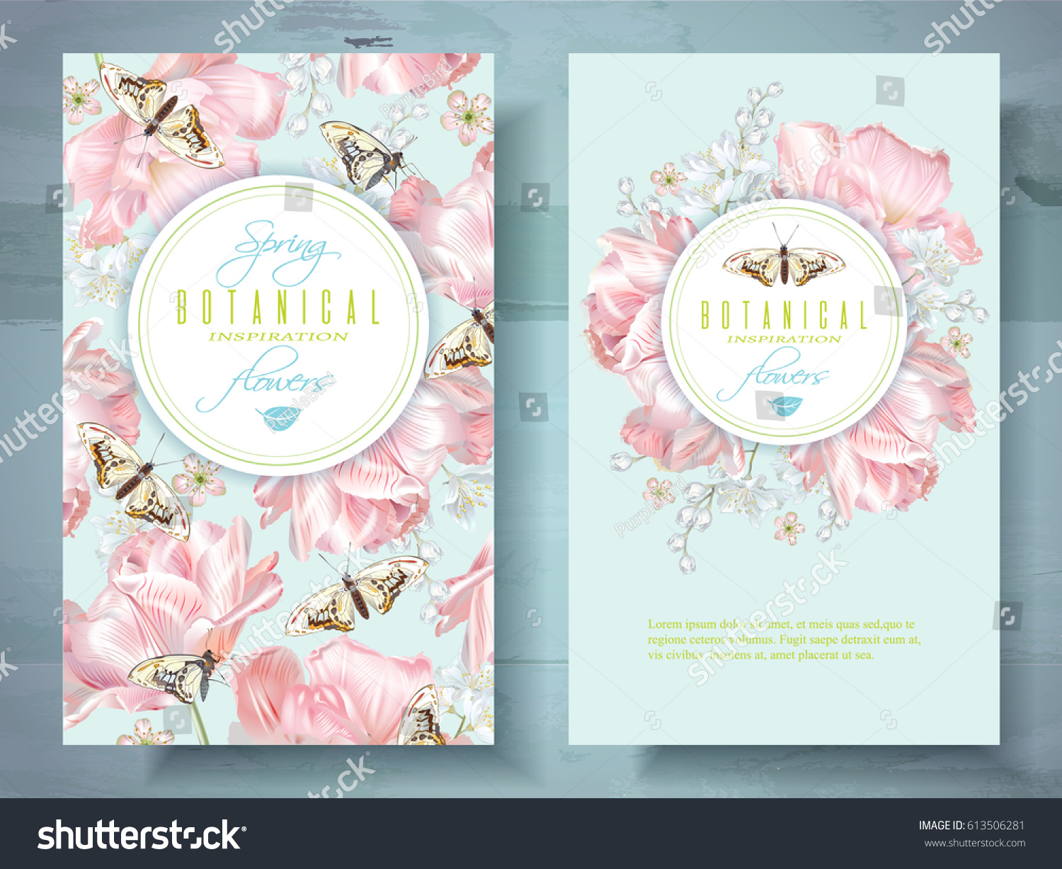 Vector spring flower banners pink tulips stock vector royalty free vector spring flower banners with pink tulips and butterflies elegant tender design for natural cosmetics mightylinksfo