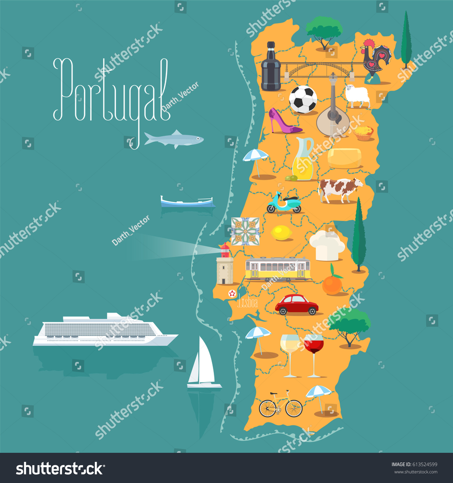 Map Portugal Vector Illustration Design Icons Stock Vector