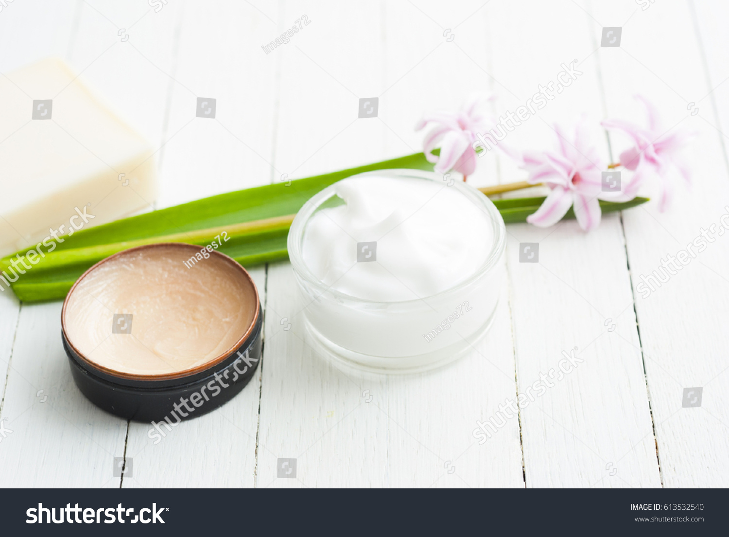 Ointment Makeup Base And Soap With Hyacinth On White Wood Table