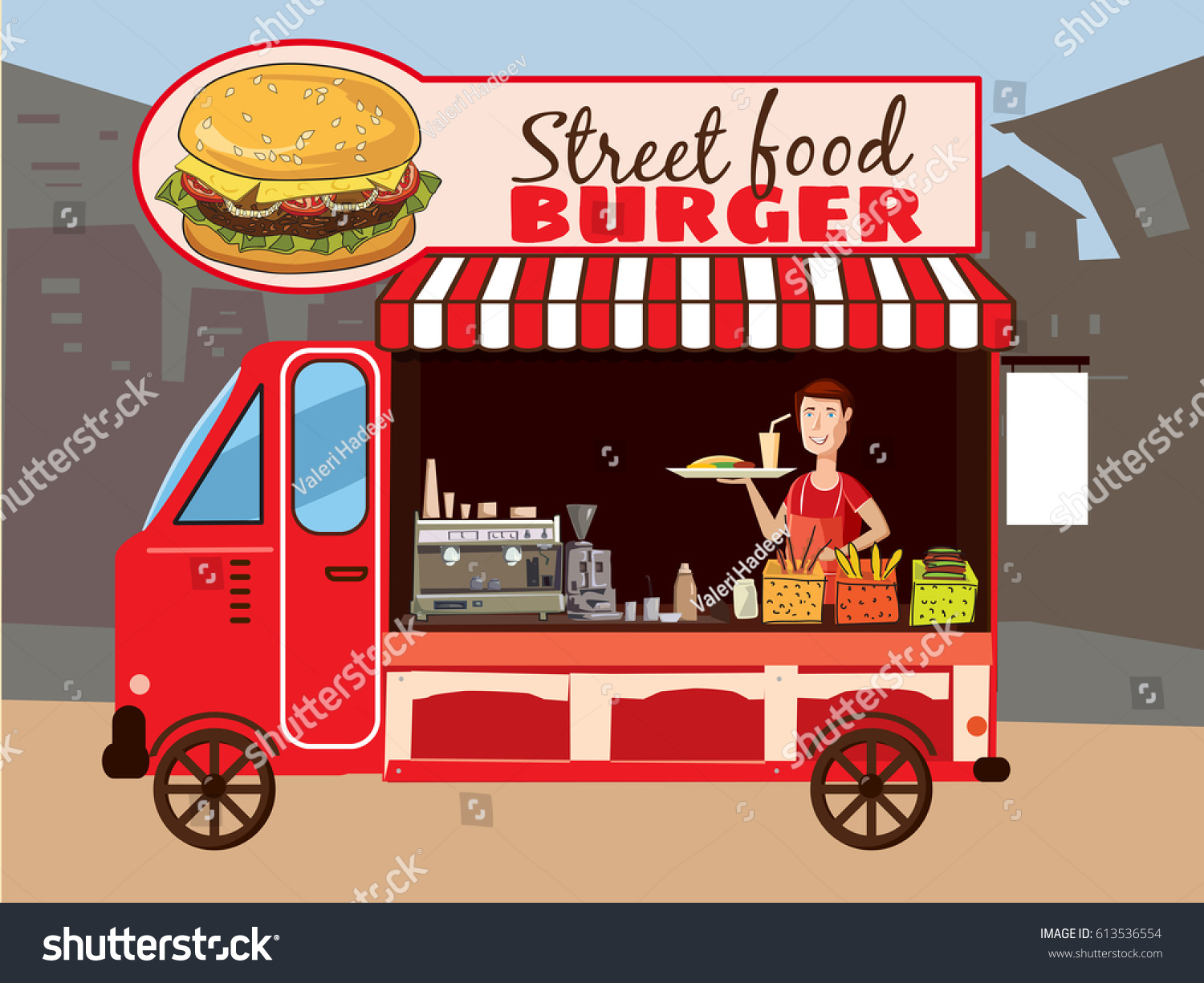 Street Food Truck Burger Fast Cook Card Style