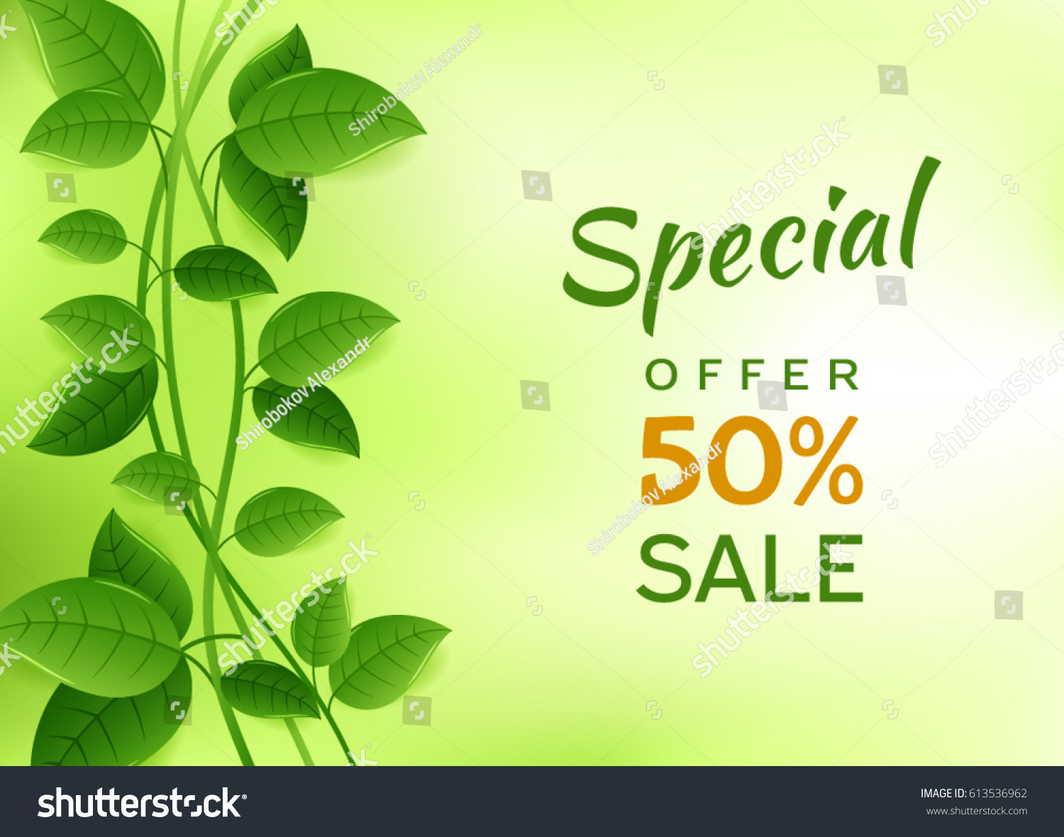 Green Banner Sale Greeting Cards Leaves Stock Vector 613536962