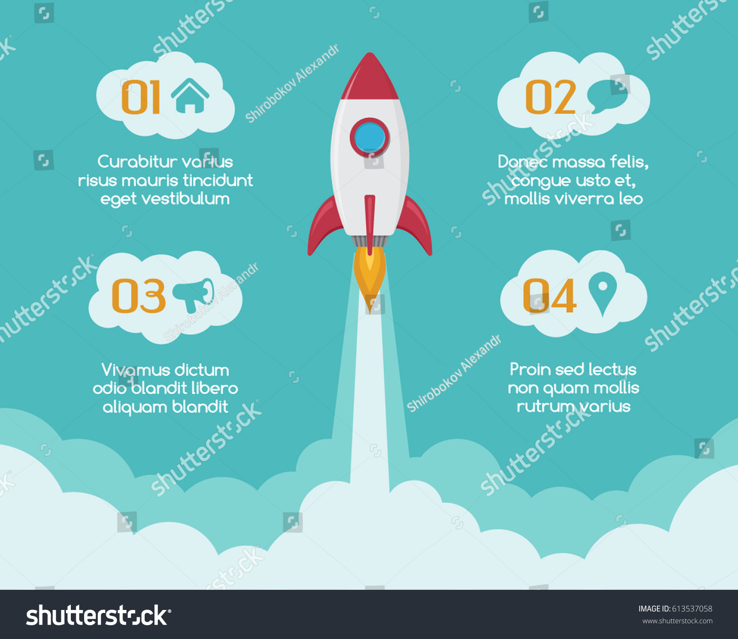 infographic template rocket spaceship launches through stock