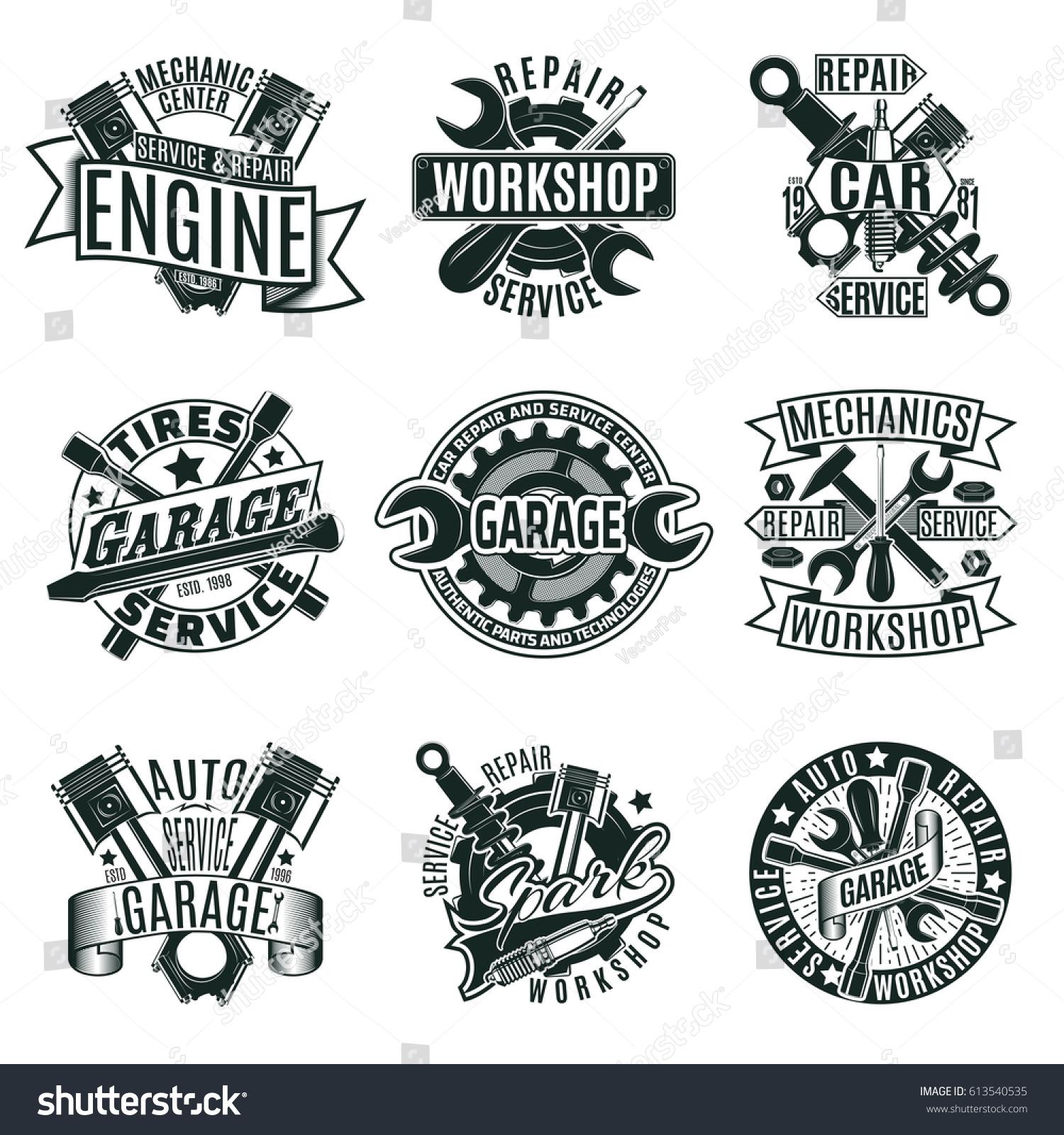 Monochrome Car Repair Service Logos Set Stock Vector
