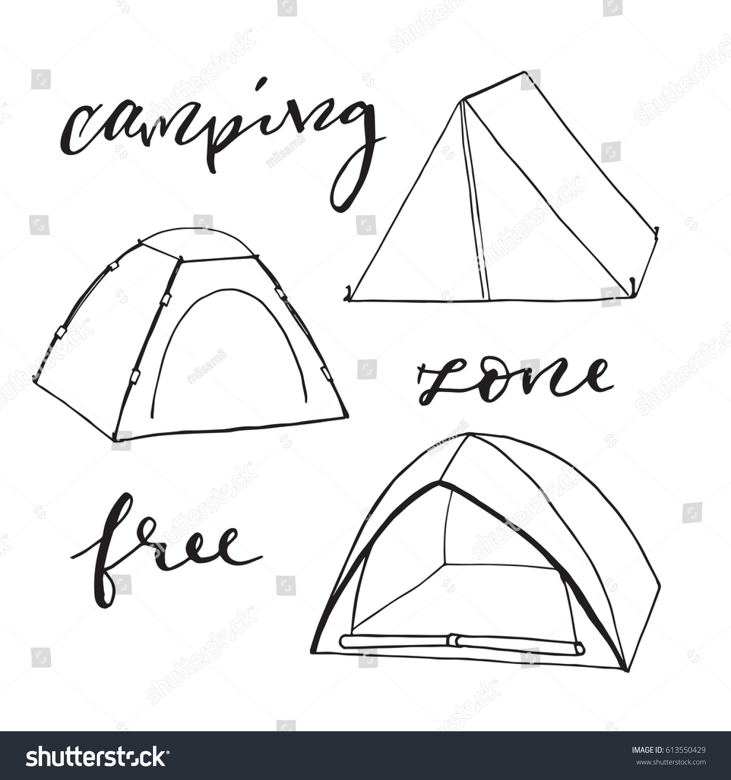 Tents Sketch Element Camping Zone Free Hand Drawing Vector Illustration Hang Writing