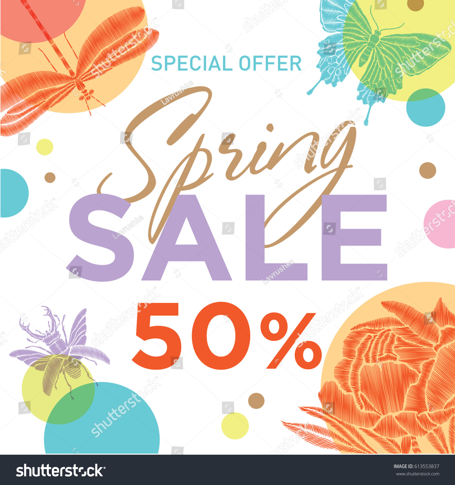 Square vector banner spring symbols spring stock vector 613553837 square vector banner with spring symbols spring sale template for advertising on the internet biocorpaavc