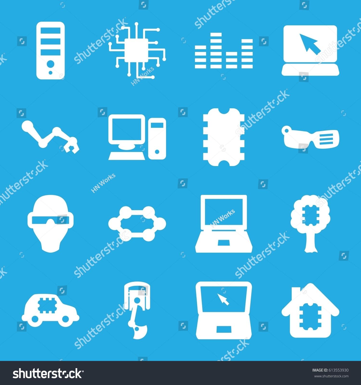 Tech Icons Set Set 16 Tech Stock Vector (Royalty Free) 613553930