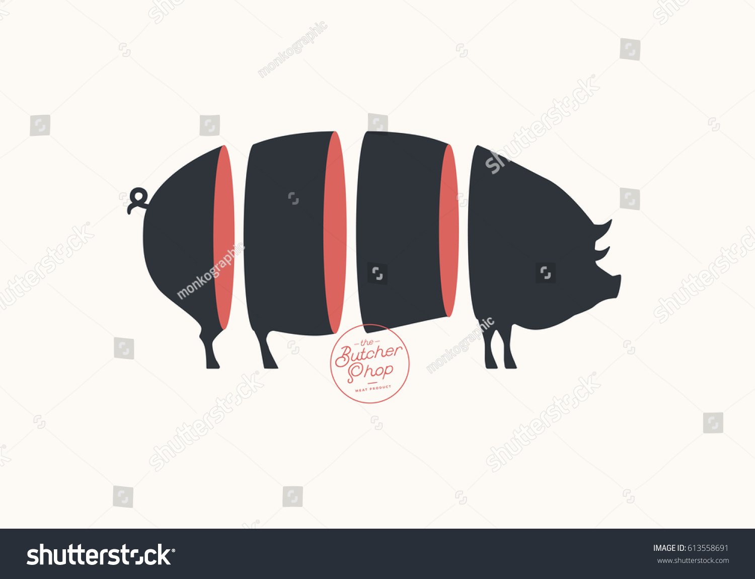 Human Butcher Diagram Not Lossing Wiring Pig Sign Cuts Pork Illustration Meat Stock Vector
