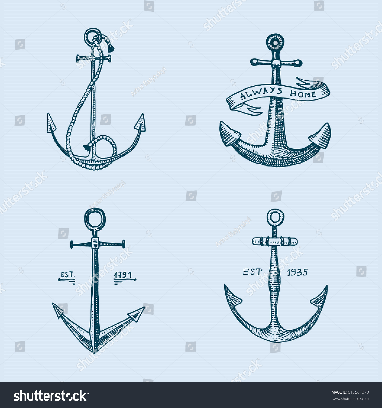 Set hand drawn anchors symbol hope stock vector 613561070 set of hand drawn anchors symbol of hope in old tattoo or sketch engraved style buycottarizona Image collections