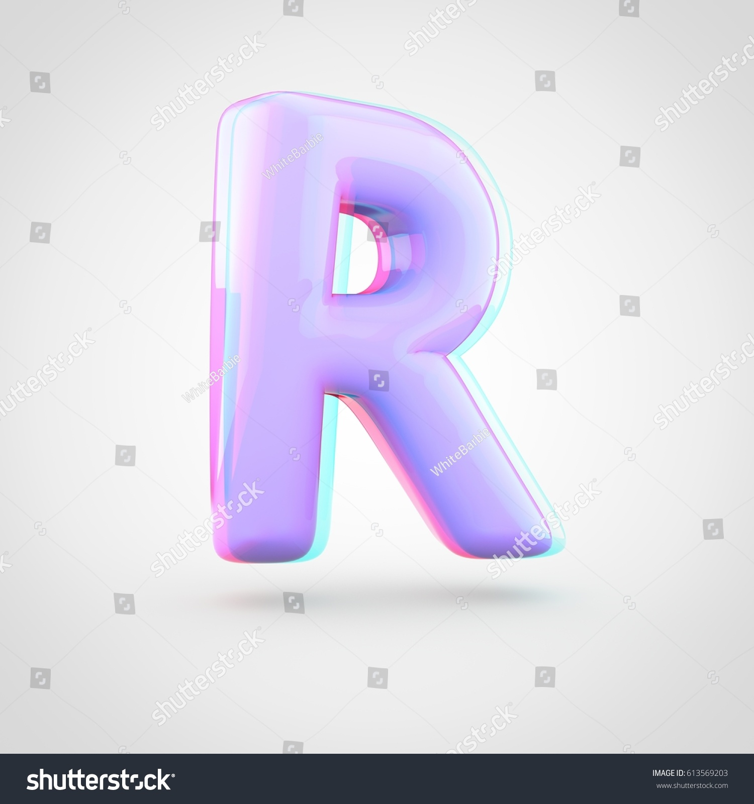 Stereoscopic Glossy Violet Letter R Uppercase Stock Illustration