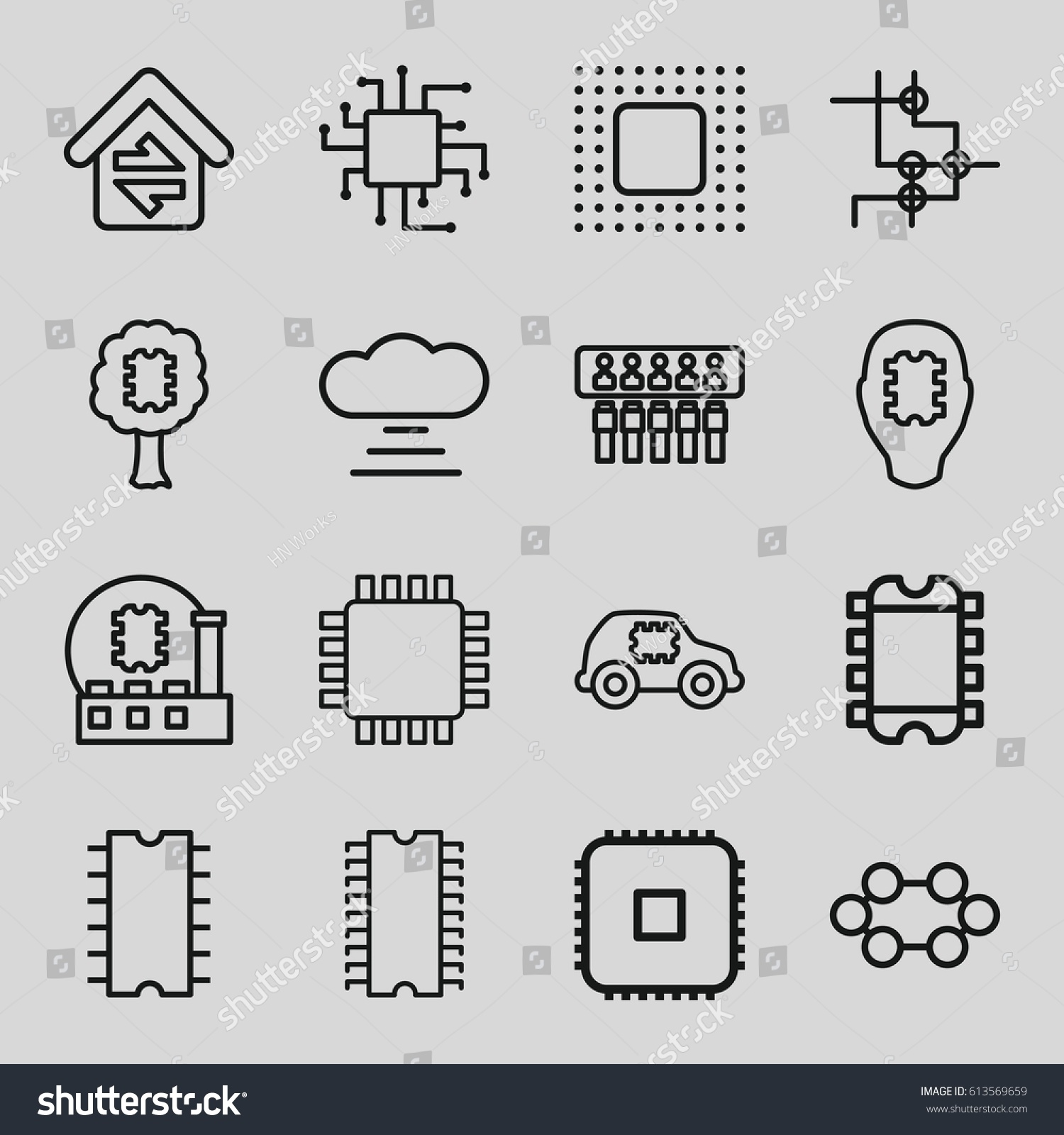 Circuit Icons Set Set 16 Circuit Stock Vector (Royalty Free ...