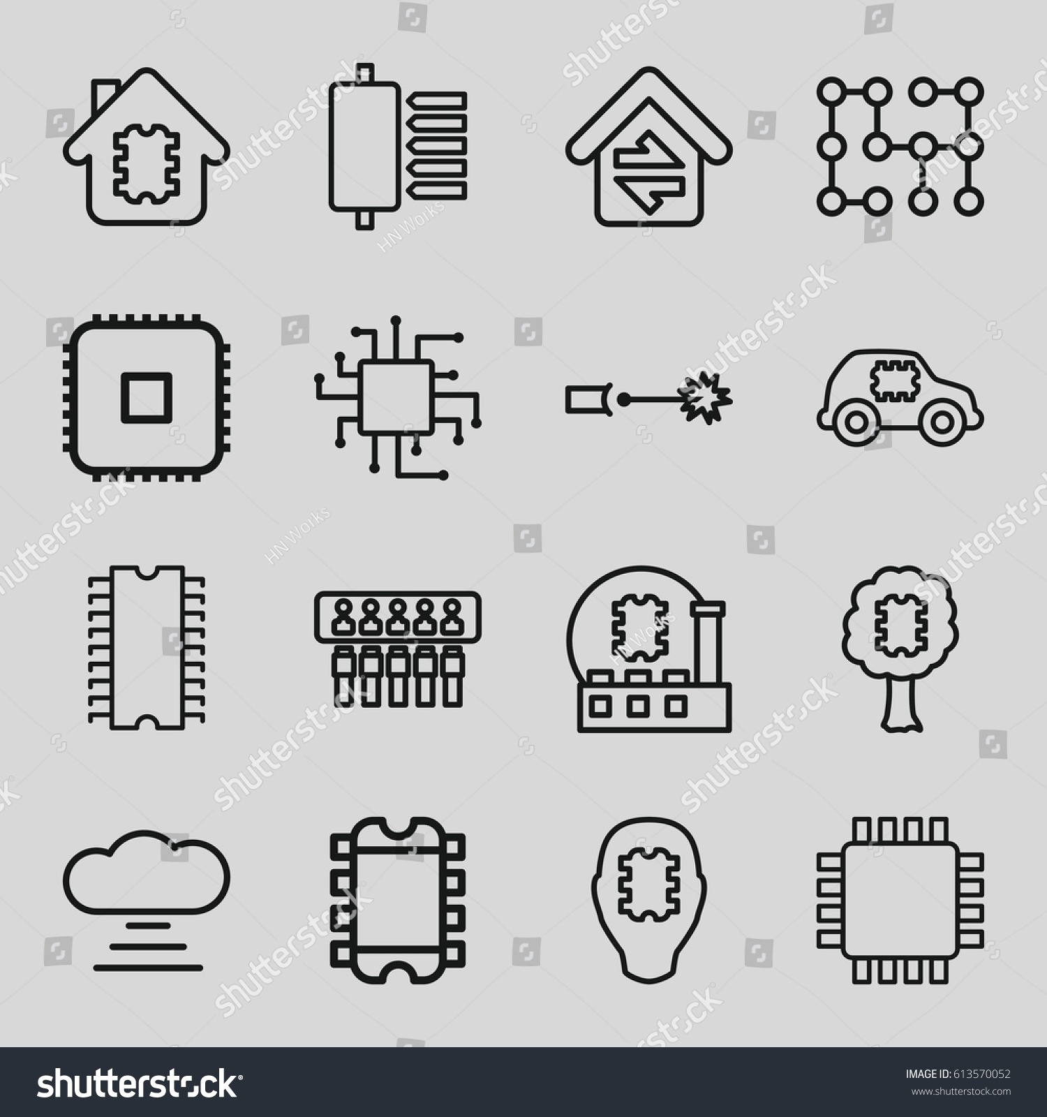 Circuit Icons Set Set 16 Circuit Stock Vector 613570052 - Shutterstock